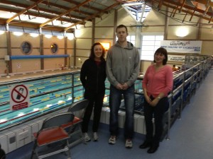 Cornelia, Peter and Mary on the gallery overlooking the competition pool in Lisburn.