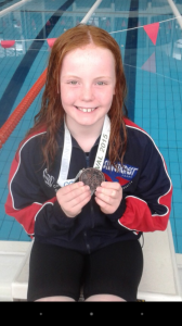 Alannah Mc Gahon Bronze medal winner in the U10 Backstroke Community Games National final.