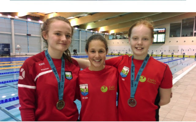 Left to right Sheenagh McKenna, Darcy Walker and Alannah McGahon represented Sliabh Beagh ASC at the Focus Belfast 2021 event organised by Swim Ulster and held at the Bangor Aurora Leisure Centre during the Swim Ulster Open Long Course Championships on Saturday 9 December.
