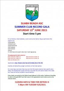 Club Record Gala June 2015