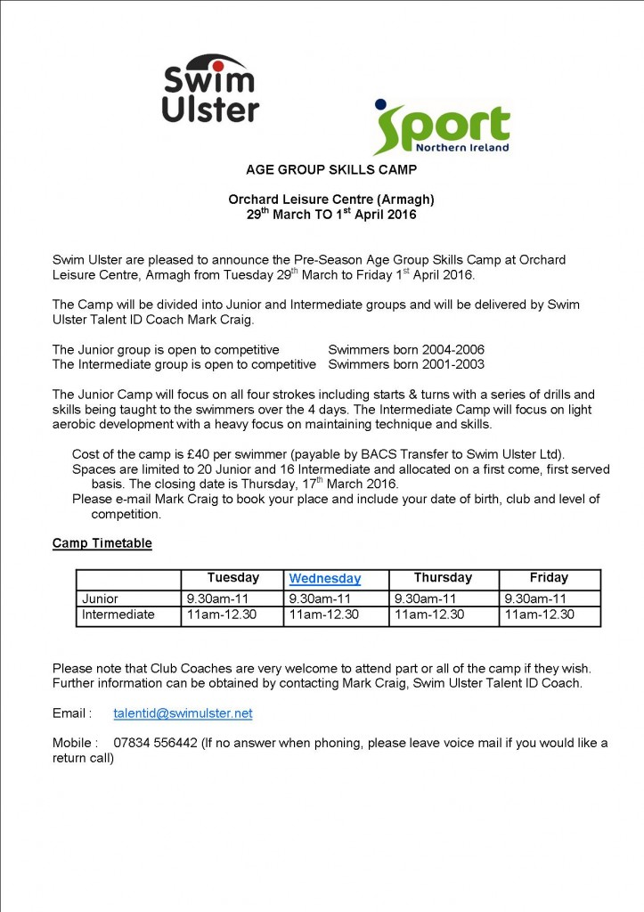 Age Group Skills Camp - Armagh