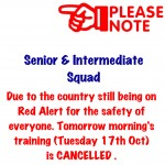 Tuesday morning training cancelled